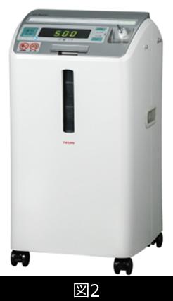 日本で使われている在宅酸素濃縮機の一例